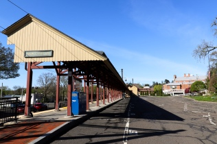 New Canaan Station. The first stop on the line to Grand Central, quiet with no trains or commuters running into the city.
